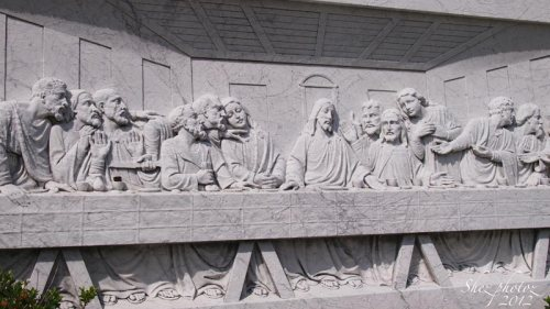 A marble carving of the Last Supper